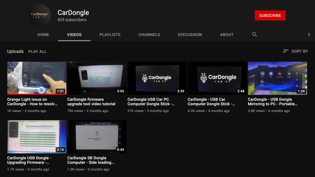 Android CarDongle YouTube Channel